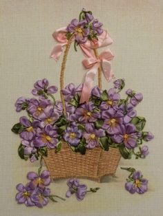 Violets in a basket #ribbonEmbroidery