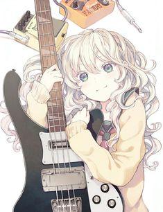 ✮ ANIME ART ✮ music. . .electric guitar. . .cute girl. . .silver hair. ..cute. . .kawaii