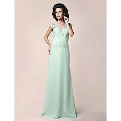 A-line V-neck Floor-length Chiffon Mother of the Bride Dress With Appliques