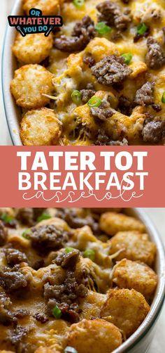 Vegetarian Breakfast Casserole, Tater Tot Breakfast Casserole, Savory Breakfast, Breakfast Dishes, Casserole Dishes, Breakfast Recipes, Breakfast Ideas, Vegetarian Cooking, Cooking Recipes
