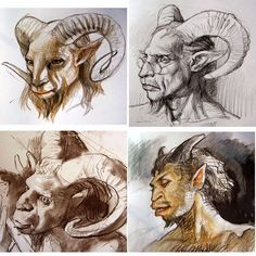 James Gurney, artist, From goats to Goat Man. #satyr #pan #sketchbook