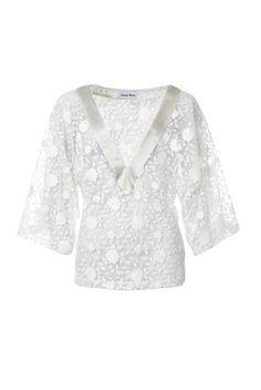 Aziza Zina – wunderschönes Spitzen-Top mit V-Ausschnitt aus transparenter Blumen-Spitze.