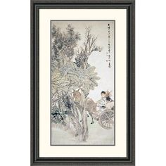 Global Gallery 'Deer Pulling a Chariot' by Ren Yi Framed Painting Print Size: