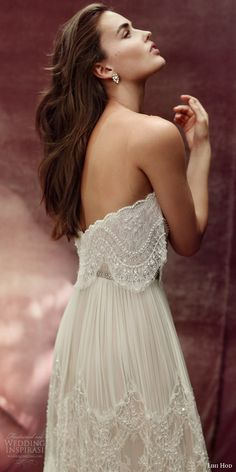 lihi hod bridal 2016 roseberry weding dress illusion strap sweetheart necklin lace top bohemian lace skirt side view