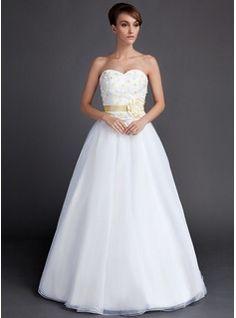 A-Line/Princess Sweetheart Floor-Length Taffeta Organza Wedding Dress With Sash Flower(s) (002015901) - JJsHouse