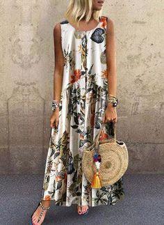 Vintage Floral Print Sleeveless Crew Neck Plus Size Dress - Orange XXL Day Dresses, Dresses Online, Casual Dresses, Fashion Dresses, Modest Dresses, Trendy Dresses, Casual Outfits, Vintage Style Dresses, Dress Vintage