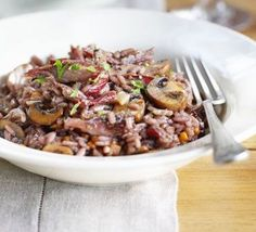 Red wine risotto with duck & garlicky mushrooms recipe - Recipes - BBC Good Food