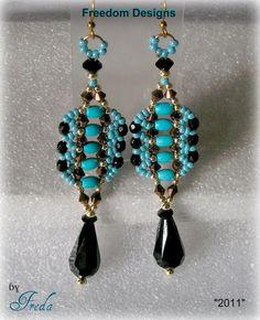 Turquoise & Black Bead Woven Dangle by FreedomDesignbyFreda, $24.00