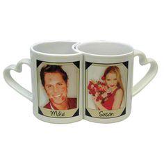 Personalized Heart Handle Double Love Mug Set Personalized Mugs, Personalized Wedding, Mug Press, Aluminum Water Bottles, Couple Mugs, Santa Mugs, Christmas Mugs, Cool Diy Projects, Ceramic Mugs