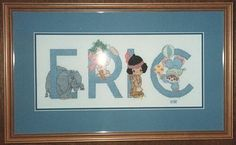 Precious Moments Alphabet (c) Designs by Gloria and Pat. For Eric  Sarah's new baby Eric. Finished 1994.