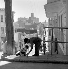 San Francisco Photo by Fred Lyon. When taking care of your little brother wasn't a chore. But a form of brotherly love. The blonde in the pic.