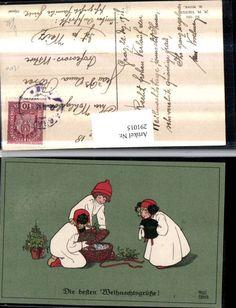 291015,Künstler AK Pauli Ebner Weihnachten Kinder Hauben Muff Korb Puppe pub Mun
