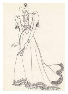 1971 - YSL sketch - dress for Marie Helene De Rotschild for the Bal Proust @ FondationBergeYSL
