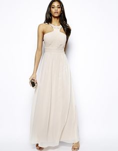 Image 1 ofLittle Mistress Maxi Dress with Pretty Necklace and Wrap Front
