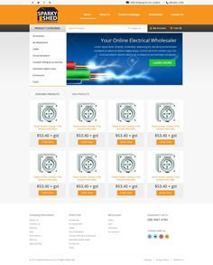 Bright, modern home page design for online electrical wholesaler