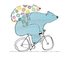 Riding Bearback  8 x 10 Bears On Bikes Art Print by weandthebean, $18.00
