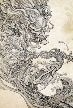 - Samurai Beast – Cibles – – Samurai Beast – Cibles – Be - Raijin Tattoo, Hannya Tattoo, Yakuza Tattoo, Yakuza 5, Oni Mask Tattoo, Japanese Drawing, Japanese Tattoo Art, Japanese Art Samurai, Japanese Oni