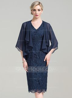 [US$ 129.99] Sheath/Column V-neck Knee-Length Lace Mother of the Bride Dress With Ruffle