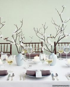 Table decoration with branches