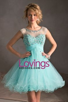 2013 Homecoming Dresses A Line Scoop Short/Mini With Beading