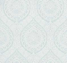 Rosalia Damask (W6493-03) - Osborne & Little Wallpapers - A mid scale damask with all over tracery - shown in the duck egg blue. Wide width. Please request sample for true colour match.