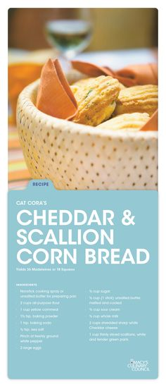 Macy's Culinary Council Cat Cora's warm Cheddar & Scallion Corn Bread will sure be a crowd favorite at your next BBQ. Do yourself a favor and make double the serving.