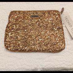 Brand New Nine West iPad case or clutch Sequined gold iPad case or clutch Nine West Bags Clutches & Wristlets