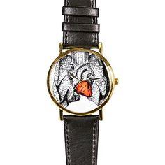 Human Anatomy Heart Lungs Watch,  Vintage Style Leather Watch, Women Watches, Boyfriend Watch, Men's Watch