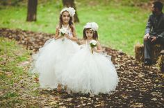 A Backyard Barn Wedding in the Woods: Lauren + Bud THOSE DRESSES!!! the sweet mini bouquets! The cuteness of them!