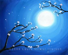 Blue Moonlight and Cherry Blossoms Original Acrylic Painting by Laura Milnor Iverson