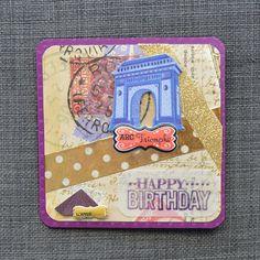 Paris Birthday Card Handmade Card Hand by CraftyCarolynsCards