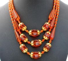 Art Deco Multi 3 Strand Orange Czech Glass Bead Art Deco Gilded Necklace | eBay