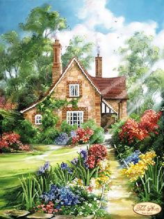 arrival DIY Diamond Painting landscape Forest hut Round Full Diamond Mosaic Cross Stitch Kits Embroidery Home Decor Storybook Cottage, Cottage Art, Painted Cottage, Garden Cottage, Colorful Paintings, Beautiful Paintings, Landscape Art, Landscape Paintings, Belle Image Nature