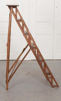 For Sale on - An exceptional antique folding ladder from France. The oak ladder has five steps that are graduated in size. When opened, the ladder measures 53 Library Ladder, Attic Ladder, Loft Ladders, Tree Stand Hunting, Ladder Stands, Folding Ladder, Finished Attic, Little Houses, Tiny Houses