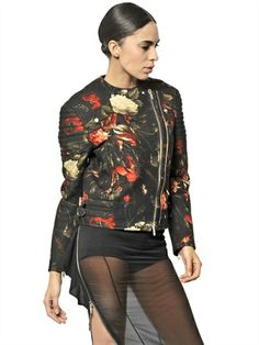 GIVENCHY - PRINTED WOOL BIKER JACKET - LUISAVIAROMA - LUXURY SHOPPING WORLDWIDE SHIPPING - FLORENCE