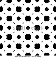Vector monochrome seamless pattern, abstract endless background. Black & white illustration with simple figures, circles, lines, squares. Repeat geometric tiles. Design for decor, textile, furniture