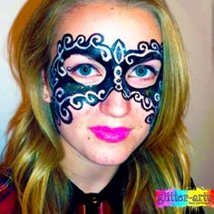 Masquerade Mask Face Painting by Glitter-Arty Face Painting, Bedford, Bedfordshire Mask Face Paint, Adult Face Painting, Glitter Face, Henna Artist, Face Art, Masquerade, Halloween Face Makeup, Make Up, Masquerades