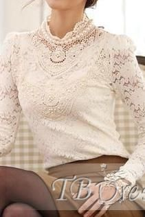 White Long Sleeve Pearl Neck Lace Chiffon Shirt