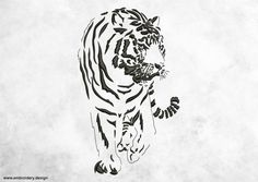 Walking tiger embroidery design  downloadable by EmbroSoft on Etsy