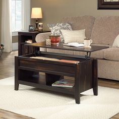 Provide your living room with some striking storage and serving space with the Sauder Dakota Pass Lift-Top Coffee Table . This piece features a casual. Lift Top Coffee Table, Coffee Table With Storage, Coffee Tables, Low Shelves, Open Shelving, Extendable Coffee Table, Living Spaces, Living Room, Hidden Storage