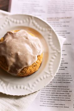 An autumn teatime must: Pumpkin Scones with Spiced Glaze. #food #pumpkin #scones #autumn #fall