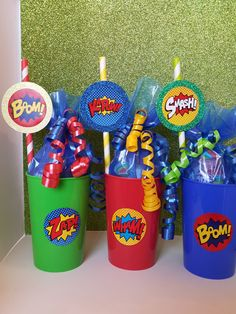 6 Comic Book Party Cups DC Marvel Iron Man by caliknowshowtoparty