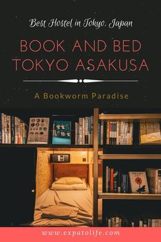 Where to stay in Tokyo, Japan on the budget for the first time? Book and Bed Tokyo Asakusa is a perfect place for book lovers and travelers who love extraordinary experience! You'll definitely want to save it in your Japan Board so you can try it when you're around the area. #tokyo #japan #hostel #accommodation #budgetfriendly #budget #budgettrip #budgetfriendlyholidays #budgettips #travel #financetips #moneytips #traveltips #JapanTravelBudget