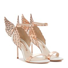 Rose Gold Heels, White Heels, White Leather, Leather Sandals, Butterfly Heels, Shoe Makeover, Bridal Heels, 3d Laser, Latest Shoes