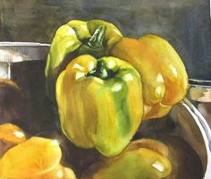 Yellow Peppers Painting by Alfred Ng