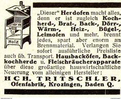 Original-Werbung/ Anzeige 1920 - HERDOFEN / OFENFABRIK TRITSCHLER - KROZINGEN - Ca. 45 X 40 Mm - Werbung