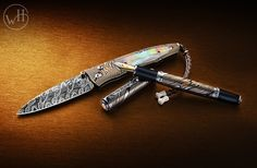 Pen & Sword in hand-forged Mokume Gane, gold, rubies and black lip pearl... Men's idea of jewelry.