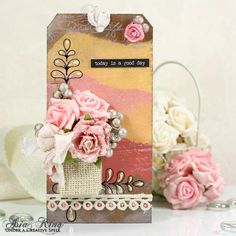 Shabby chic vintage tag with flowers by Asia King #cre8time