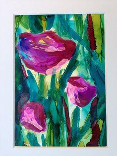 colorful flower painting purple and teal tulips by AandKartStudio