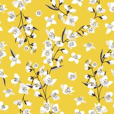 Jasmine on Yellow by Petroula Tsipitori Seamless Repeat Vector Royalty-Free Stock Pattern